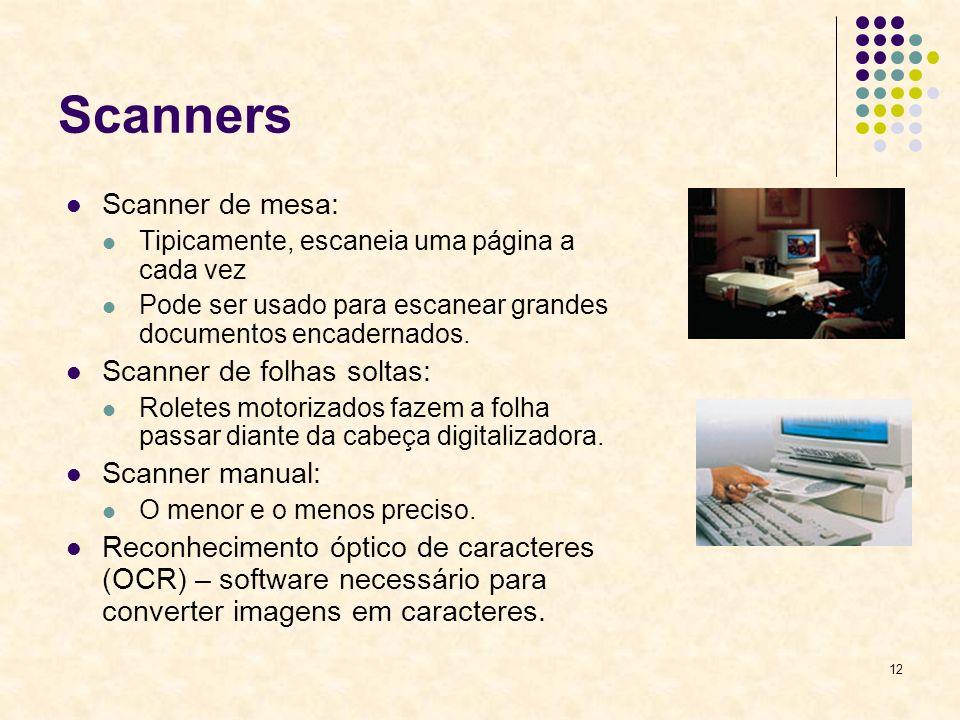 Scanners Scanner de mesa: Scanner de folhas soltas: Scanner manual: