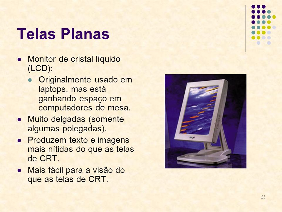 Telas Planas Monitor de cristal líquido (LCD):