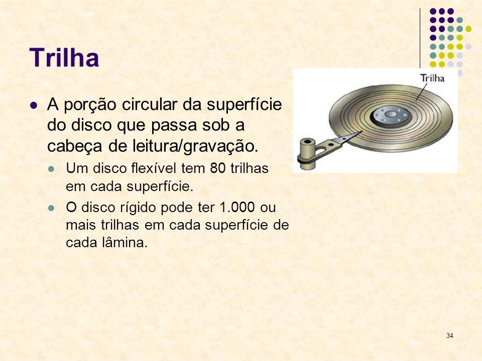 Trilha A porção circular da superfície do disco que passa sob a cabeça de leitura/gravação. Um disco flexível tem 80 trilhas em cada superfície.