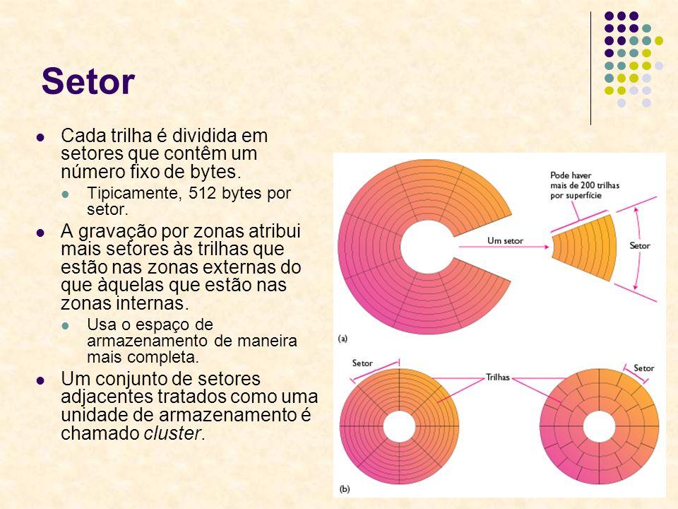 Setor Cada trilha é dividida em setores que contêm um número fixo de bytes. Tipicamente, 512 bytes por setor.