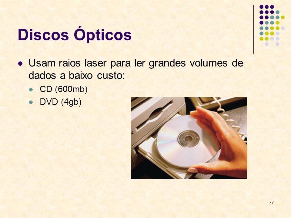 Discos Ópticos Usam raios laser para ler grandes volumes de dados a baixo custo: CD (600mb) DVD (4gb)