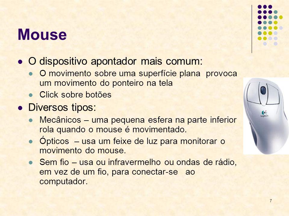 Mouse O dispositivo apontador mais comum: Diversos tipos: