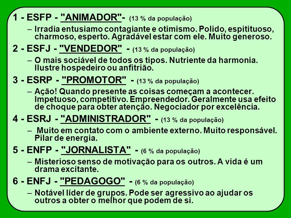 1 - ESFP - ANIMADOR - (13 % da população)