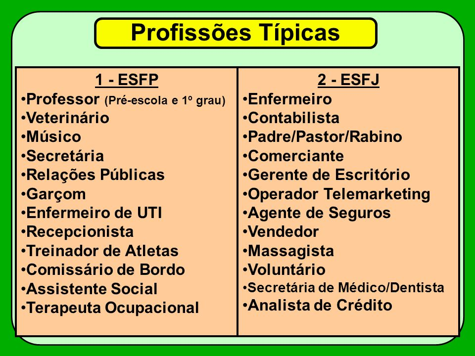 Profissões Típicas 1 - ESFP Professor (Pré-escola e 1º grau)