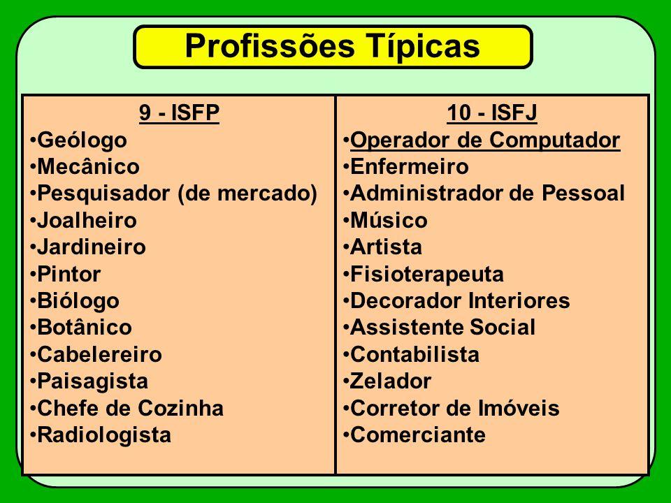 Profissões Típicas 9 - ISFP Geólogo Mecânico Pesquisador (de mercado)