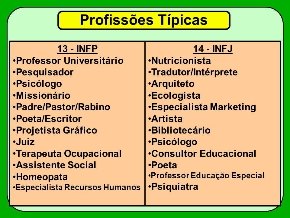 Profissões Típicas 13 - INFP Professor Universitário Pesquisador