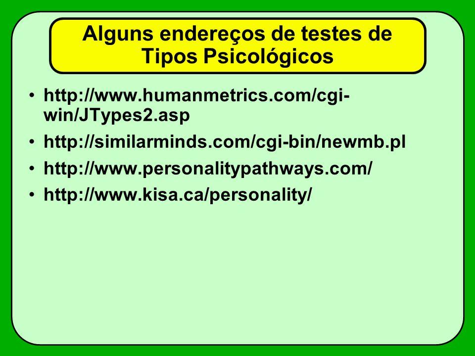 Alguns endereços de testes de Tipos Psicológicos