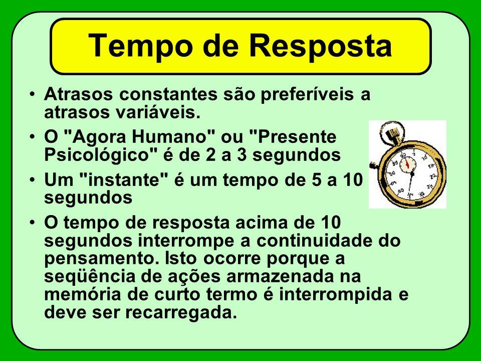 Tempo de Resposta Atrasos constantes são preferíveis a atrasos variáveis. O Agora Humano ou Presente Psicológico é de 2 a 3 segundos.