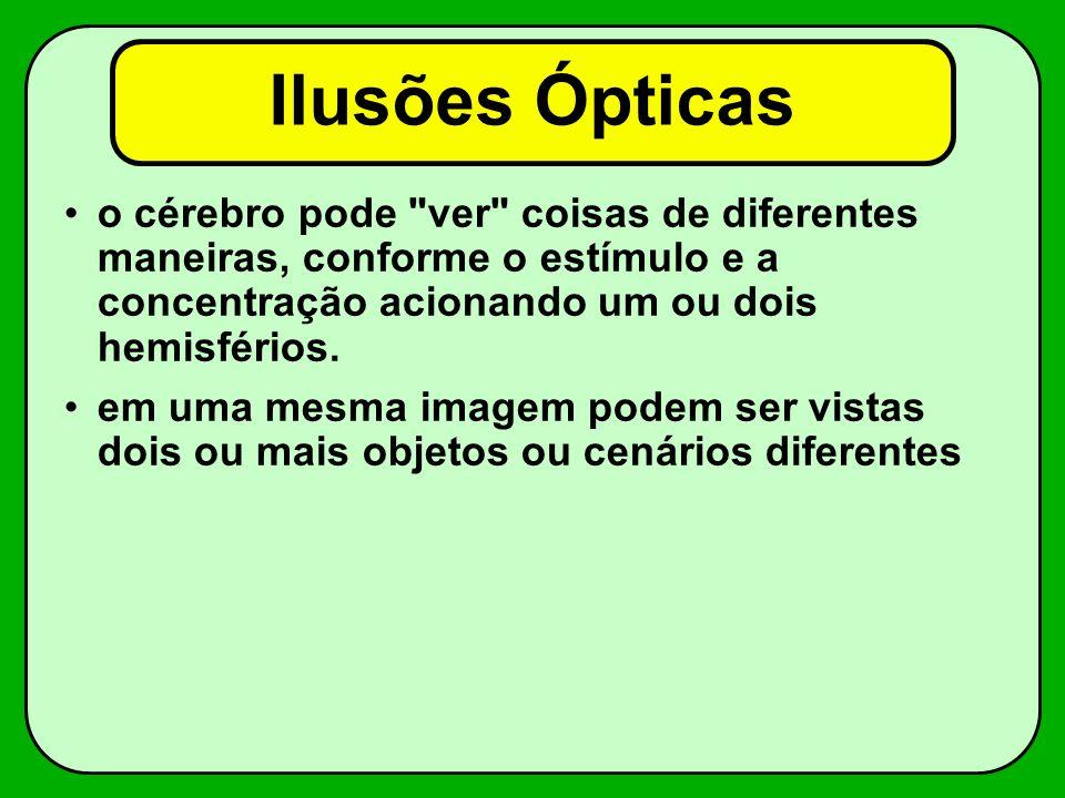 Ilusões Ópticas o cérebro pode ver coisas de diferentes maneiras, conforme o estímulo e a concentração acionando um ou dois hemisférios.