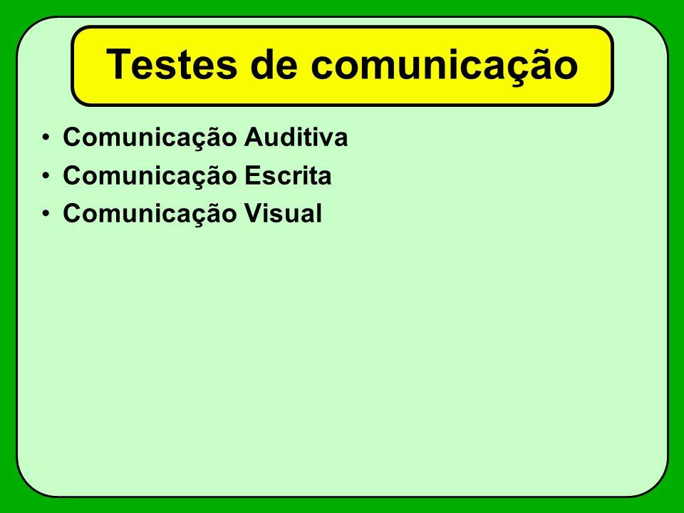 Testes de comunicação Comunicação Auditiva Comunicação Escrita
