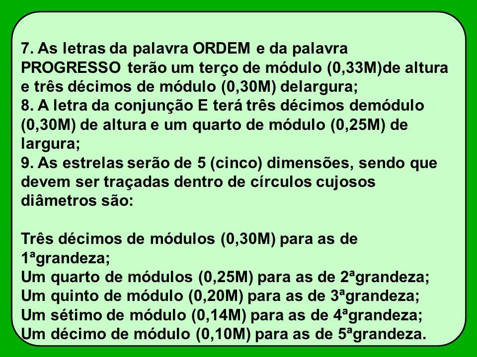 7. As letras da palavra ORDEM e da palavra PROGRESSO terão um terço de módulo (0,33M)de altura e três décimos de módulo (0,30M) delargura;