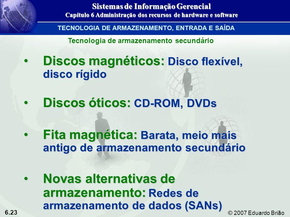 Discos magnéticos: Disco flexível, disco rígido