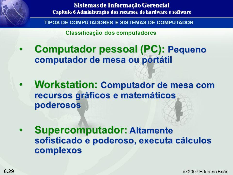 Computador pessoal (PC): Pequeno computador de mesa ou portátil