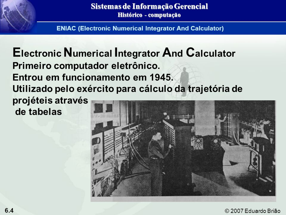 Sistemas de Informação Gerencial Histórico - computação
