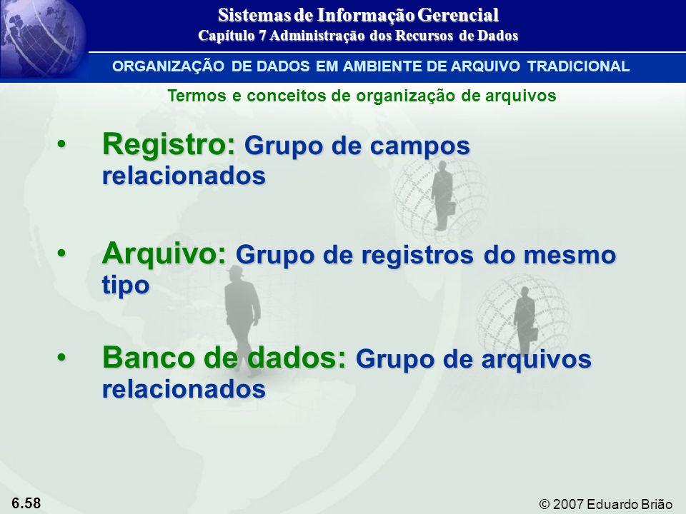Registro: Grupo de campos relacionados