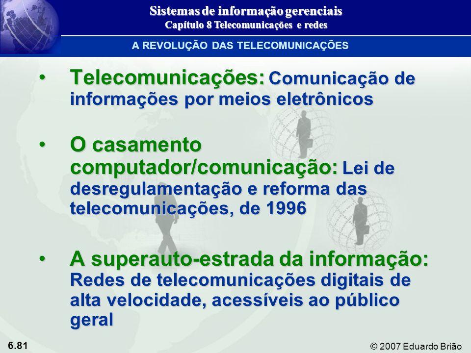 Telecomunicações: Comunicação de informações por meios eletrônicos