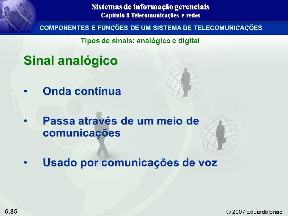 Sinal analógico Onda contínua Passa através de um meio de comunicações