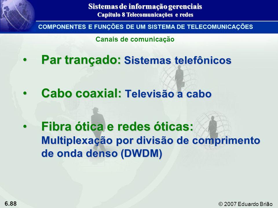 Par trançado: Sistemas telefônicos Cabo coaxial: Televisão a cabo