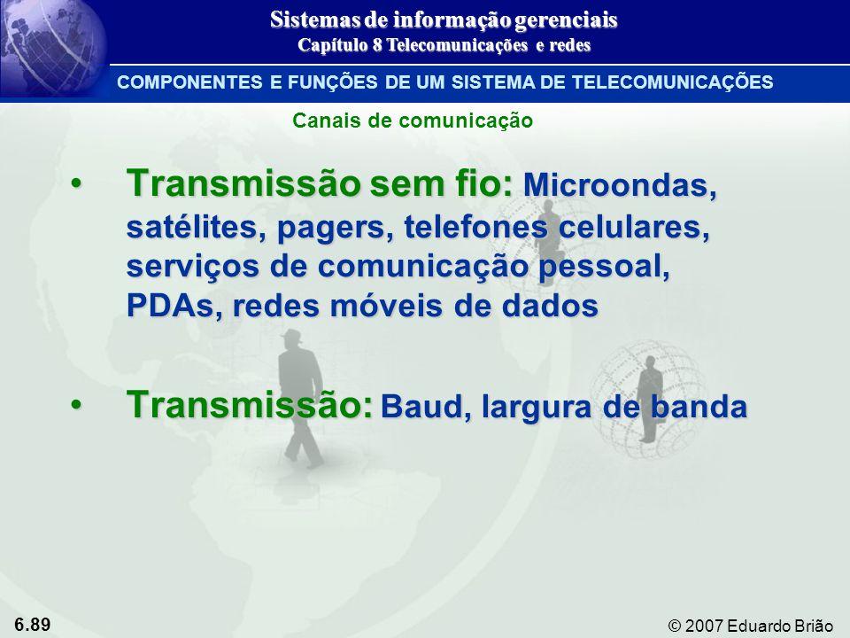 Transmissão: Baud, largura de banda