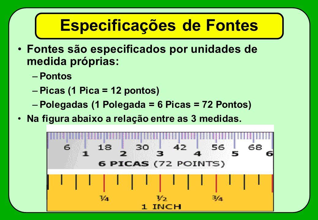 Especificações de Fontes