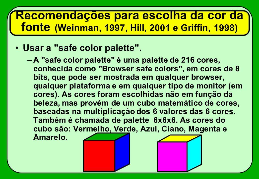 Recomendações para escolha da cor da fonte (Weinman, 1997, Hill, 2001 e Griffin, 1998)