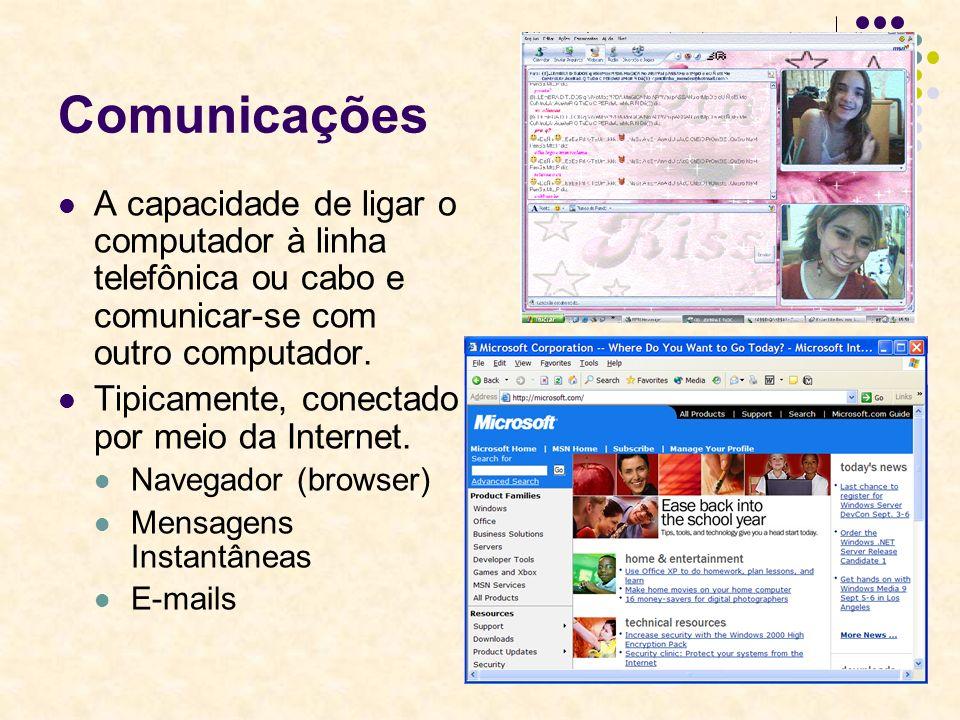 Comunicações A capacidade de ligar o computador à linha telefônica ou cabo e comunicar-se com outro computador.