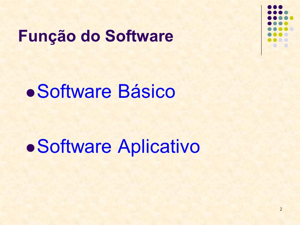Função do Software Software Básico Software Aplicativo