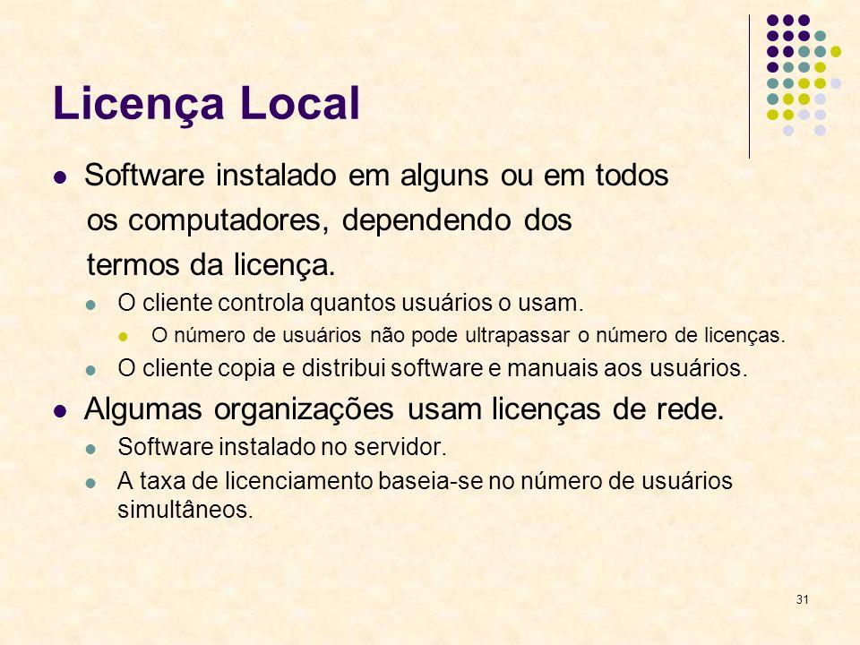 Licença Local Software instalado em alguns ou em todos