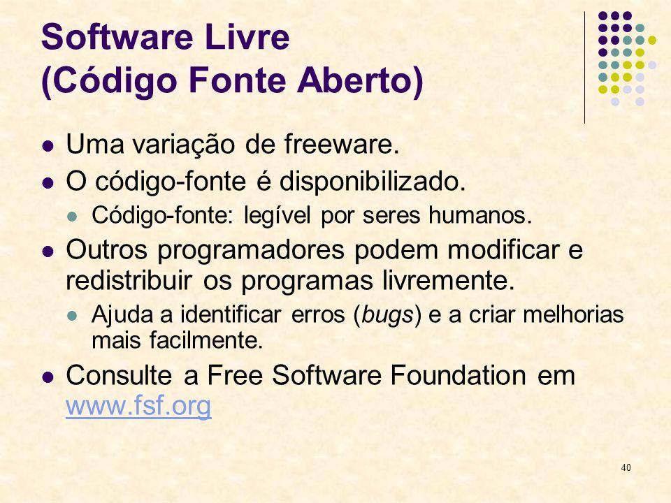 Software Livre (Código Fonte Aberto)