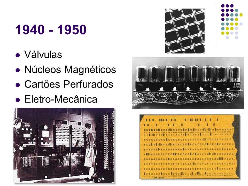 1940 - 1950 Válvulas Núcleos Magnéticos Cartões Perfurados