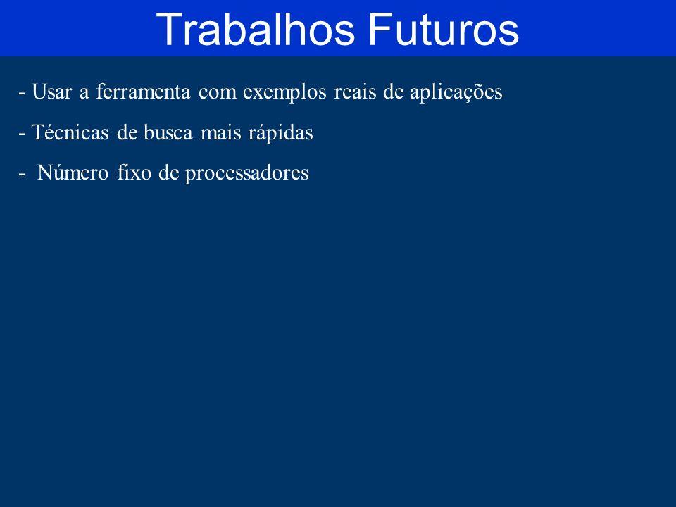 Trabalhos Futuros Usar a ferramenta com exemplos reais de aplicações