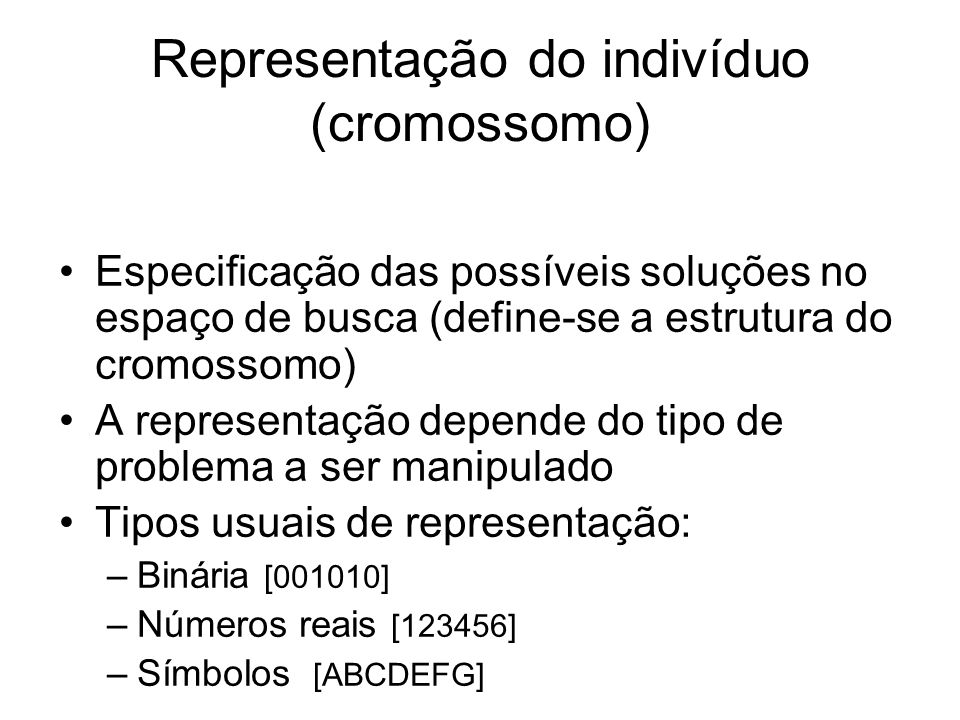 Representação do indivíduo (cromossomo)