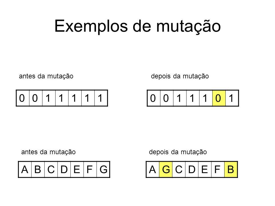 Exemplos de mutação 1 1 A B C D E F G A G C D E F B antes da mutação