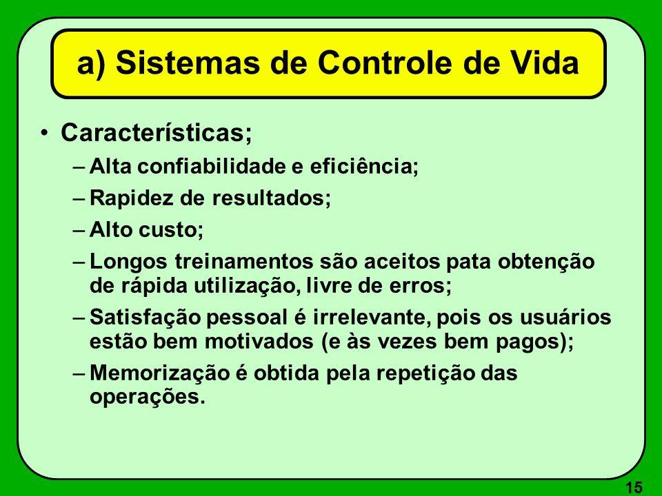 a) Sistemas de Controle de Vida