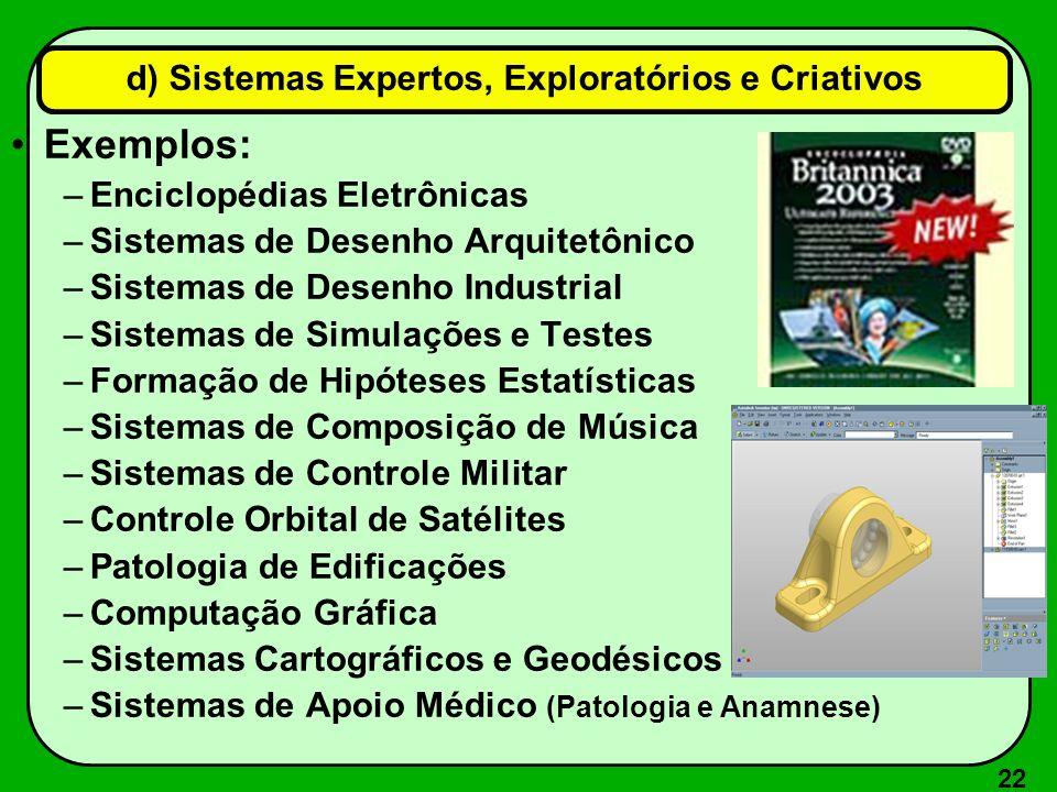 d) Sistemas Expertos, Exploratórios e Criativos