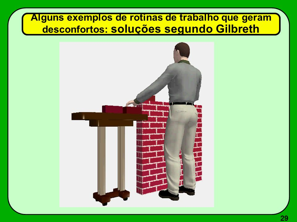Alguns exemplos de rotinas de trabalho que geram desconfortos: soluções segundo Gilbreth