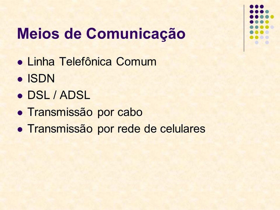Meios de Comunicação Linha Telefônica Comum ISDN DSL / ADSL