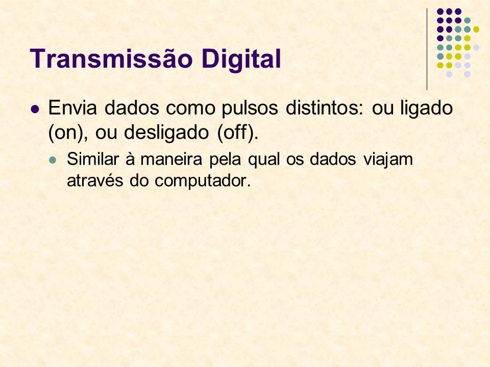 Transmissão Digital Envia dados como pulsos distintos: ou ligado (on), ou desligado (off).