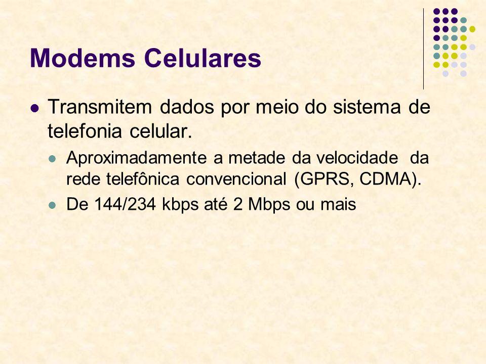 Modems Celulares Transmitem dados por meio do sistema de telefonia celular.