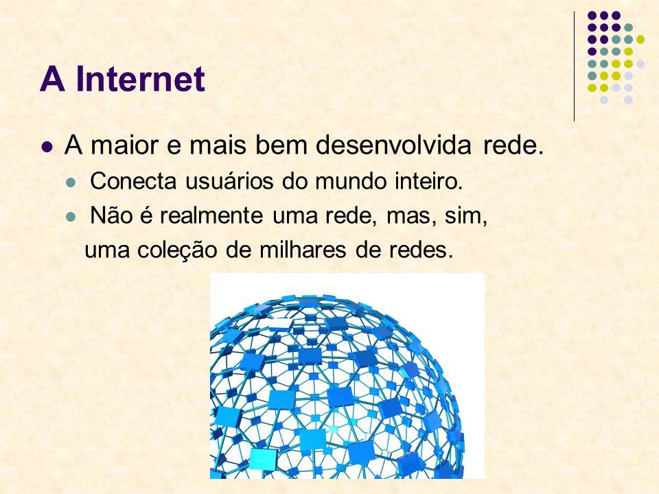 A Internet A maior e mais bem desenvolvida rede.