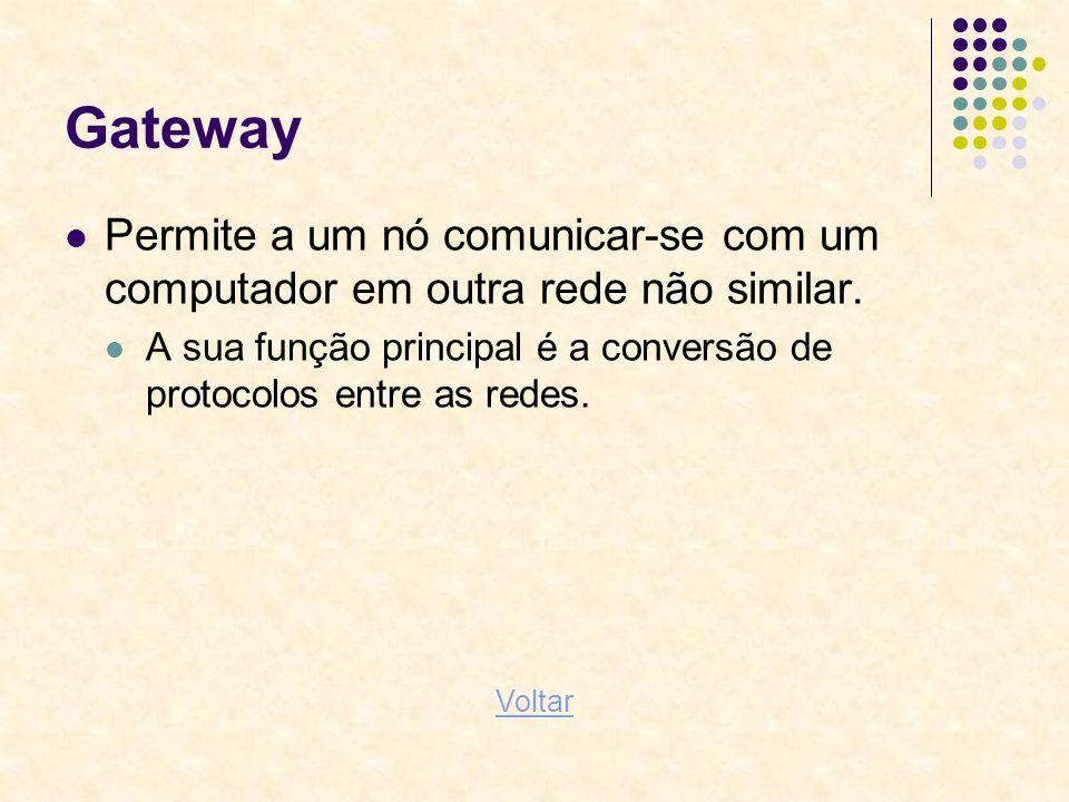 Gateway Permite a um nó comunicar-se com um computador em outra rede não similar.