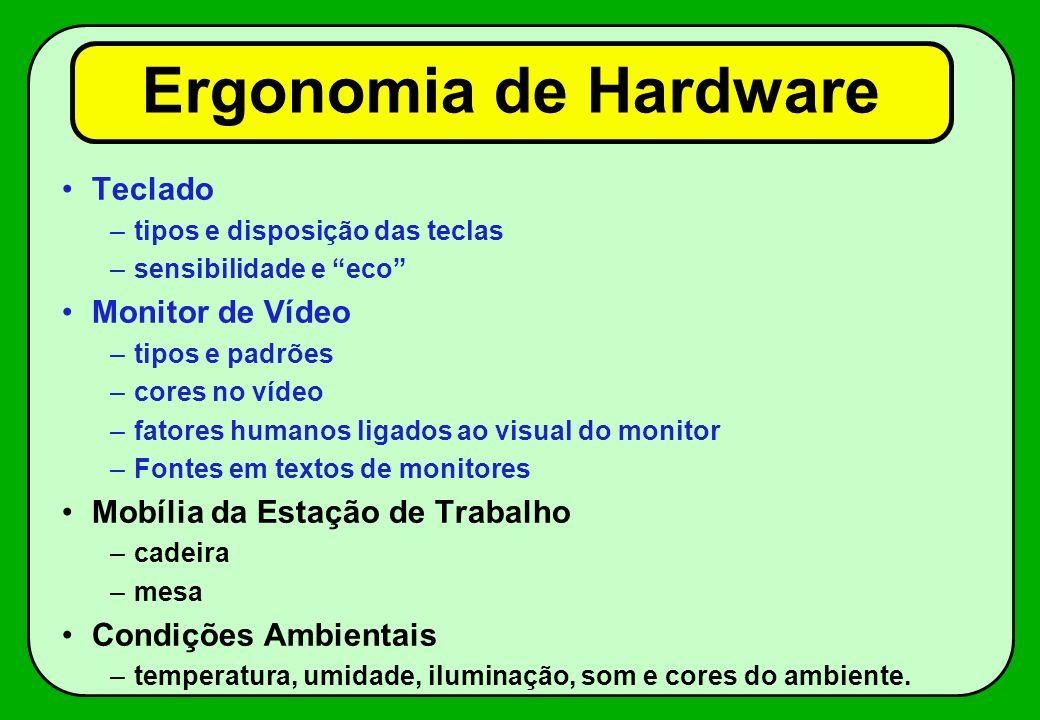 Ergonomia de Hardware Teclado Monitor de Vídeo