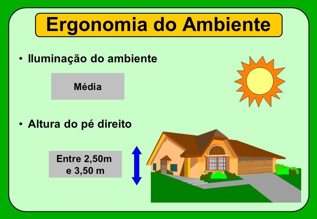 Ergonomia do Ambiente Iluminação do ambiente Altura do pé direito