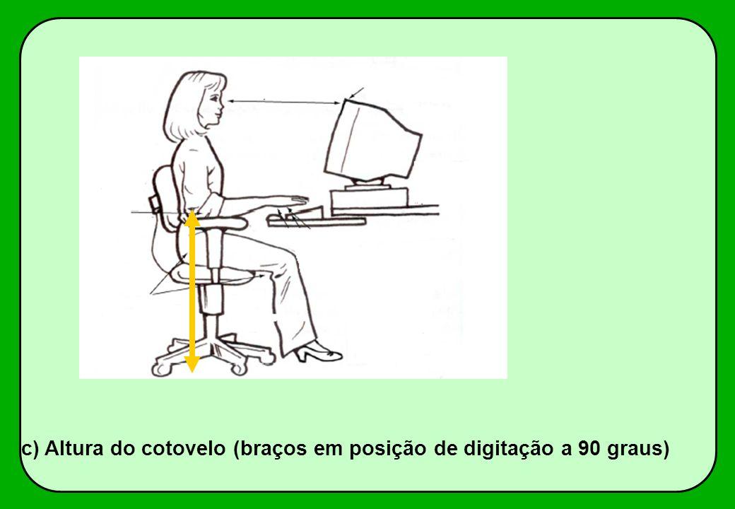 c) Altura do cotovelo (braços em posição de digitação a 90 graus)