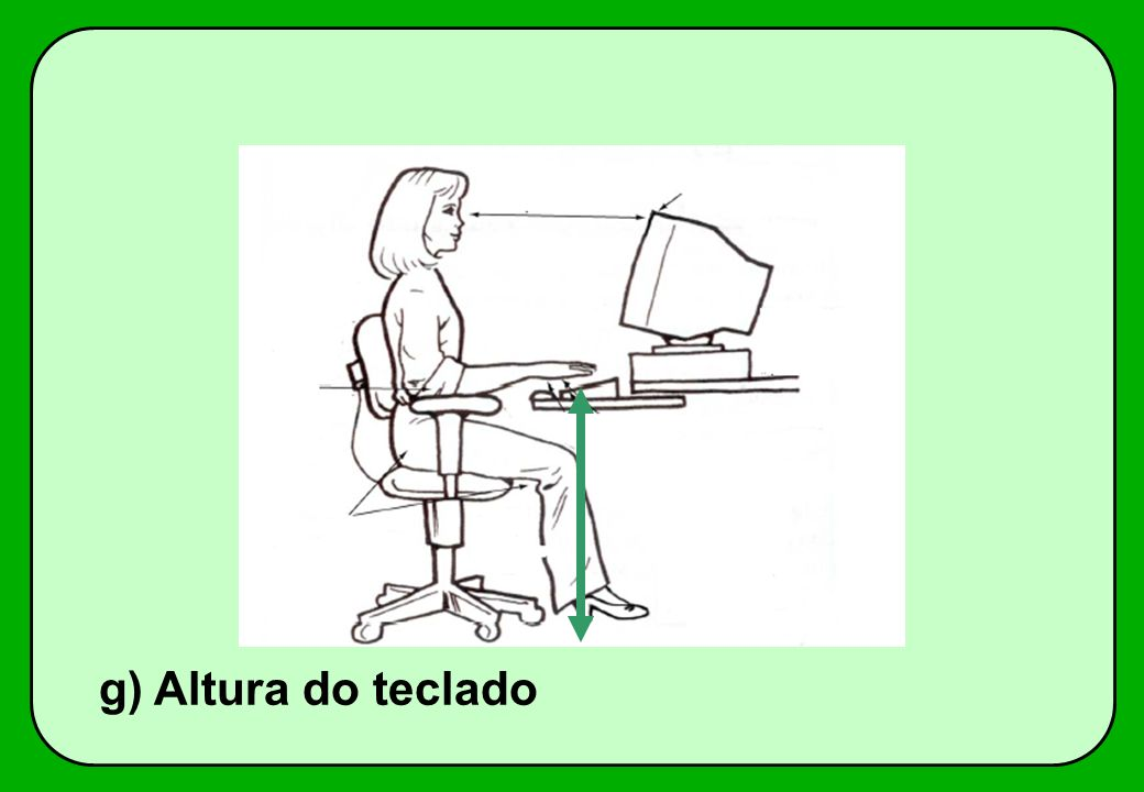g) Altura do teclado