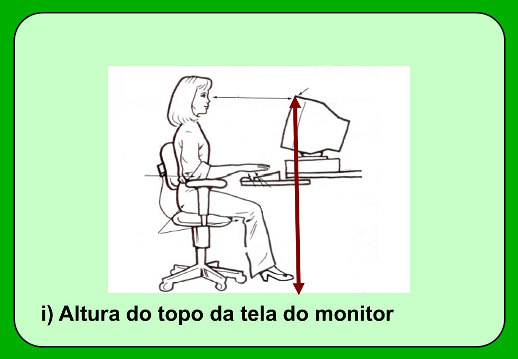 i) Altura do topo da tela do monitor