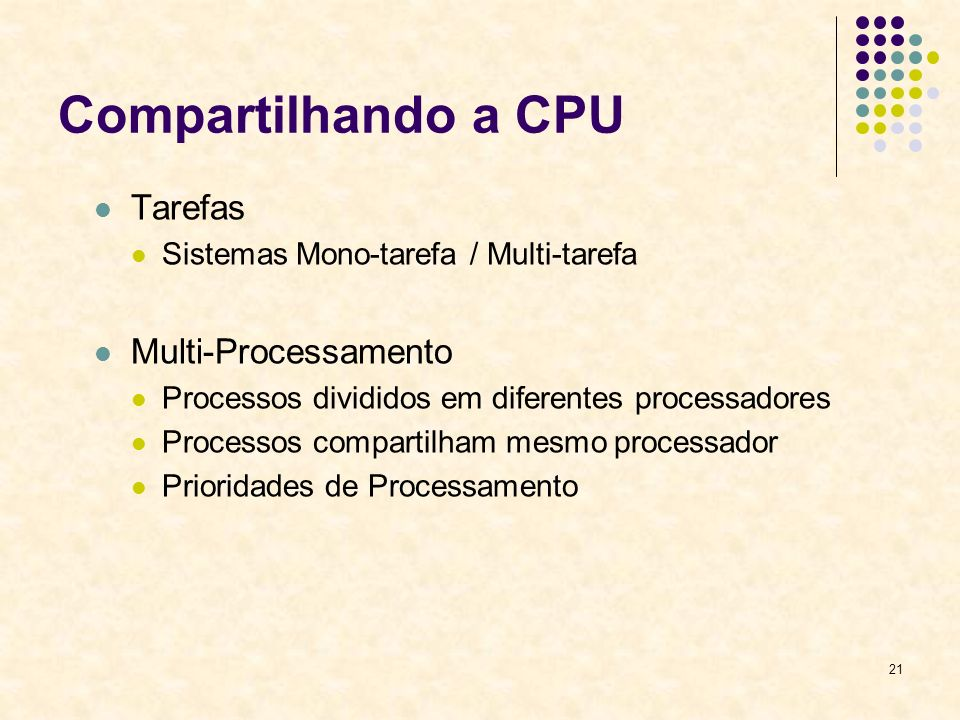 Compartilhando a CPU Tarefas Multi-Processamento