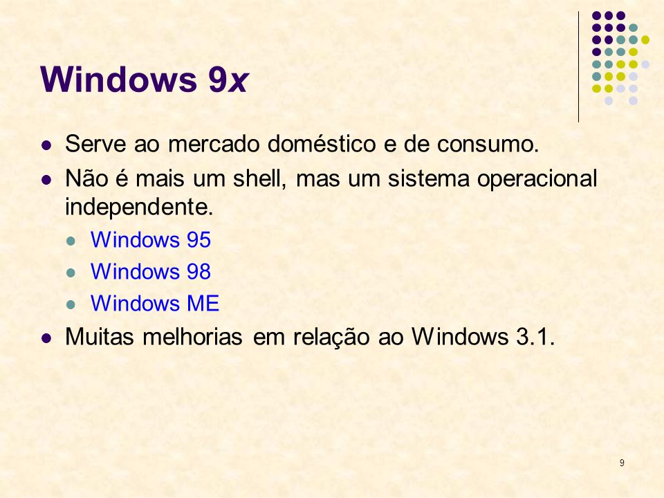 Windows 9x Serve ao mercado doméstico e de consumo.