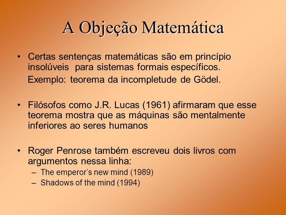 A Objeção Matemática Certas sentenças matemáticas são em princípio insolúveis para sistemas formais específicos.