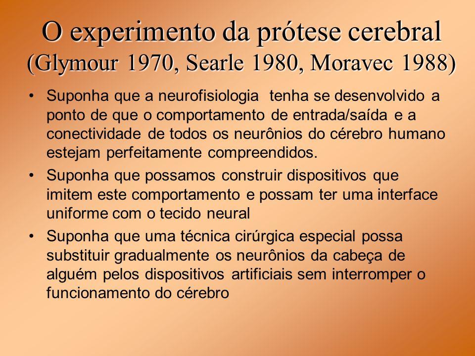 O experimento da prótese cerebral (Glymour 1970, Searle 1980, Moravec 1988)